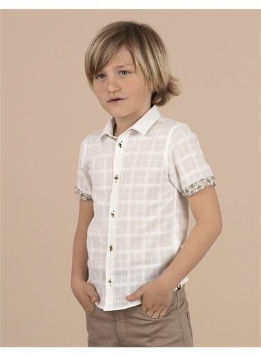 Ollie & olla Kendinden Desenli Beyaz Erkek Çocuk Gömlek Beyaz
